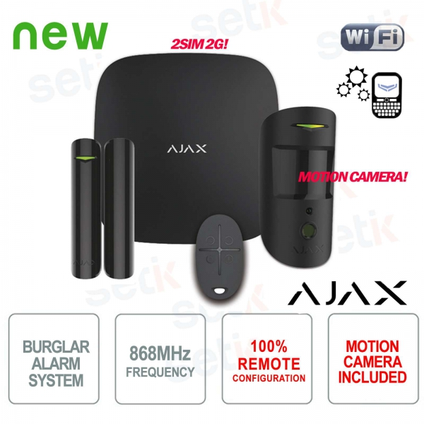 AJAX Kit di Allarme Professionale Wireless senza fili GPRS / Ethernet 2SIM 2G Black Version