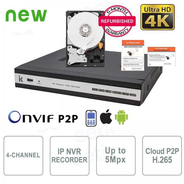 NVR IP 4 Canali H.265 - Fino a 5 Mpx - P2P + HD Setik