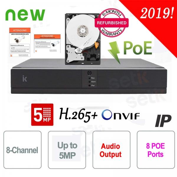 NVR 8 Canali ONVIF Dvr IP 5MP Cloud H.265 PoE + HD Setik