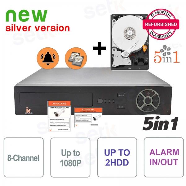DVR 8 Canali 5in1 AHD / CVI / TVI / IP / ANALOGICO 1080P Allarme + HD