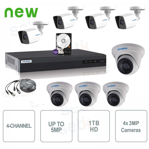 Hybridai 4M-N + Cam MP + HD Video surveillance kit 8 channels - Hyundai