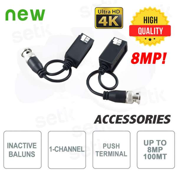 Coppia di Video Balun HQ Passivi CVI TVI AHD 4K 8MP - Setik