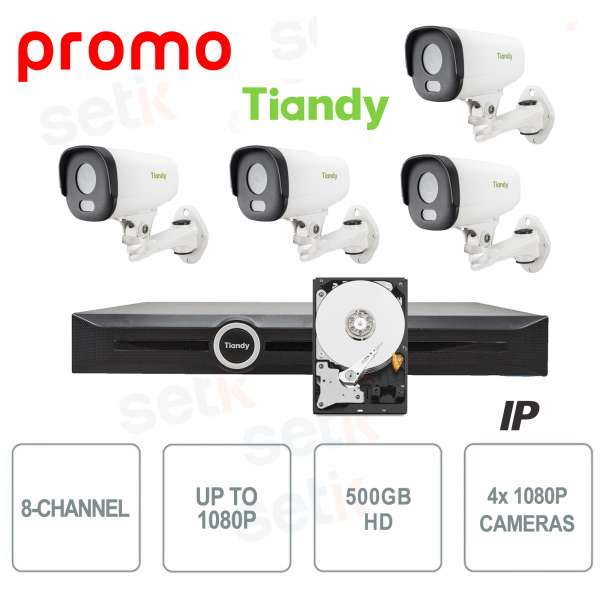 NVR 8 Channels 1080P 2HDD Tiandy + Cameras and HD Free gift!