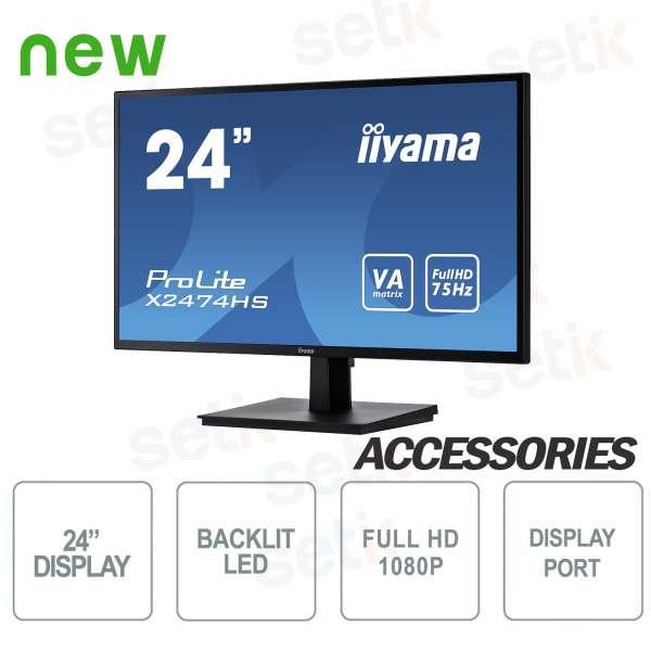 "Monitor ProLite 24"" Full HD VA - Display Port - HDMI - Speaker - Attacco Vesa - IIYAMA"