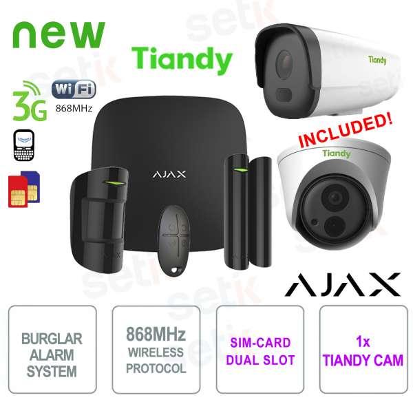 AJAX Professional Wireless WIFI / 3G Dual Sim Black Alarm Kit + Tiandy IP Camera