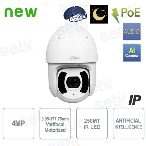 Caméra IP AI PoE IR 250M 4MP Starlight Dome