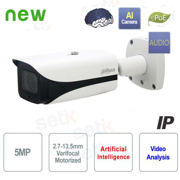 Caméra IP AI ONVIF PoE 5MP 50M IR Motorisée D