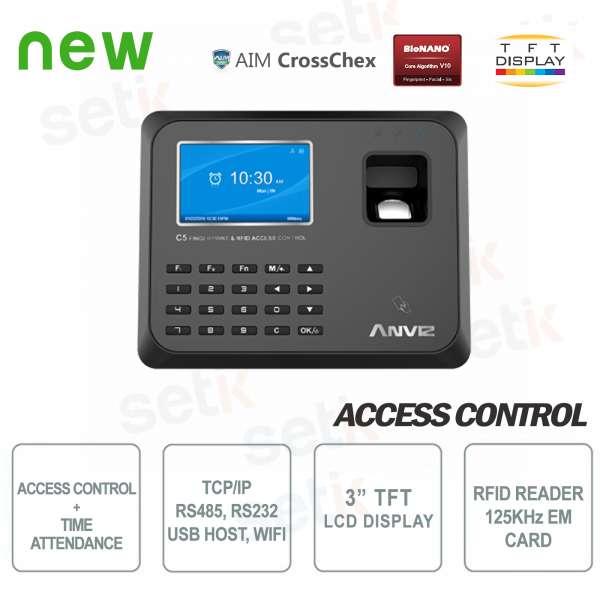 Terminale Controllo Accessi e Presenze RFID EM 125KHz C5 WiFi Anviz