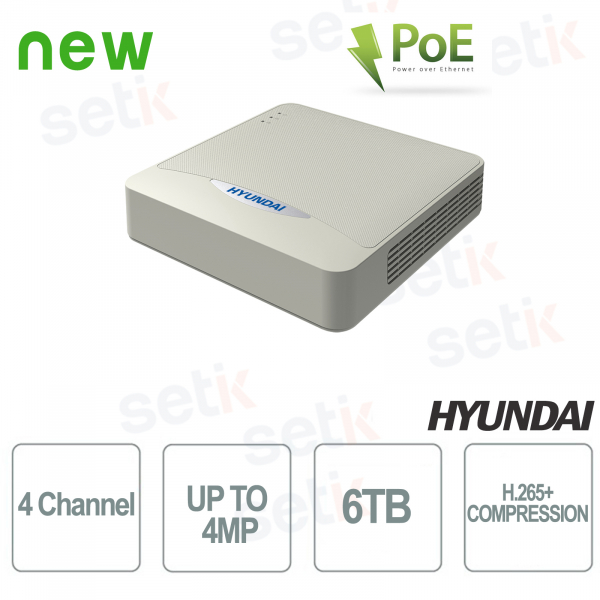 NVR 4 IP Channels ONVIF 4 MP 4 PoE Ports Video Analysis - Hyundai