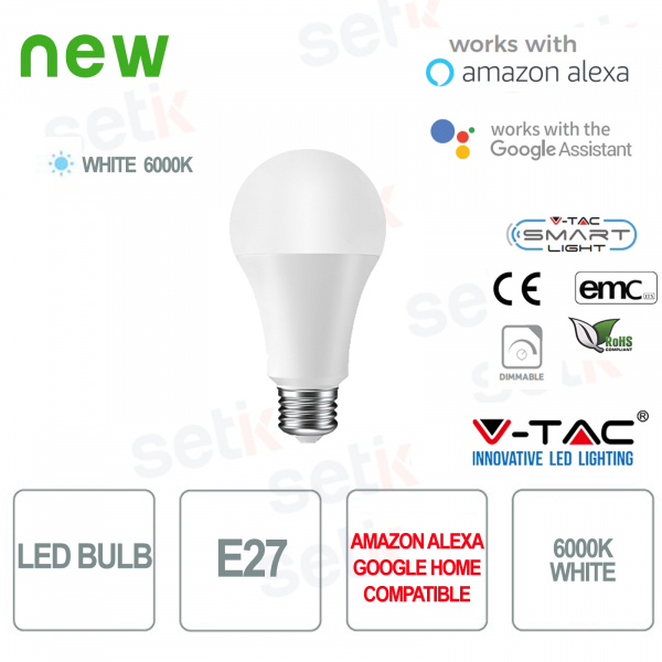 Lampadina LED Smart Home E27 6000K Alexa Google Home V-TAC