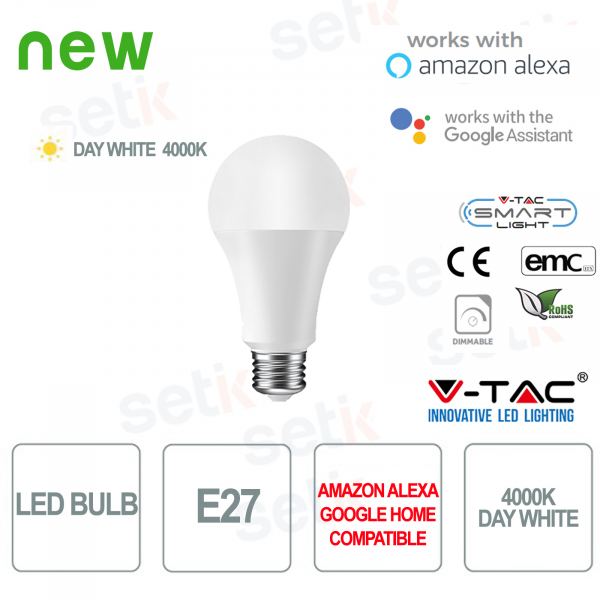 Lampadina LED Smart Home E27 4000K Alexa Google Home V-TAC