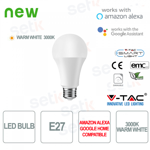Lampadina LED Smart Home E27 3000K Alexa Google Home V-TAC