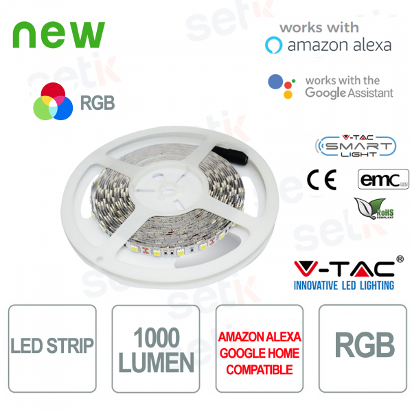 Striscia LED Smart Home RGB 1000l 10 WATT Alexa Google Home V-TAC