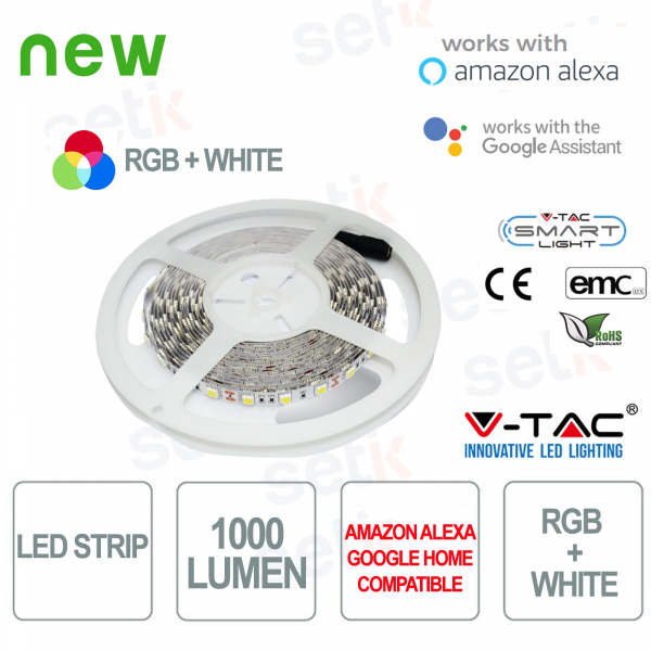 Smart Home RGB + WHITE LED Strip 1000l 10 WATT Alexa Google Home V-TAC