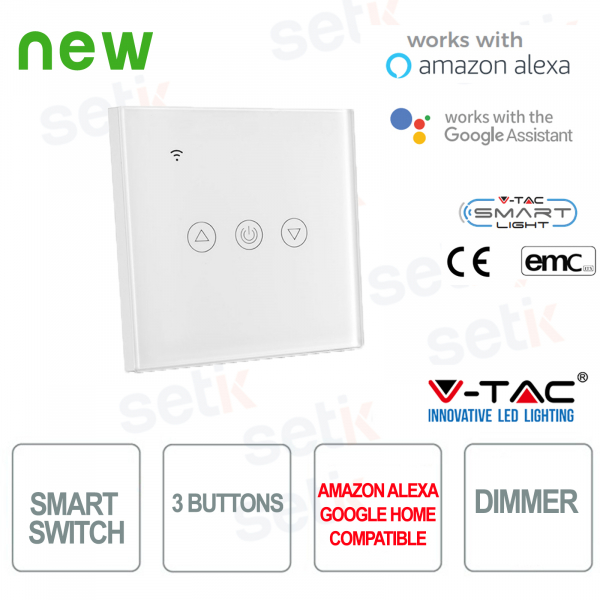 WIFI Smart Home Switch 3 buttons IP40 Alexa Google Home V-TAC W