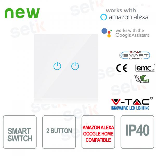 WIFI Interruttore Touch Smart Home IP40 Alexa Google Home V-TAC Bianco