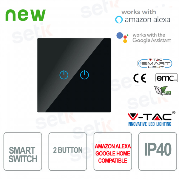 WIFI Touch Switch Smart Home IP40 Alexa Google Home V-TAC B
