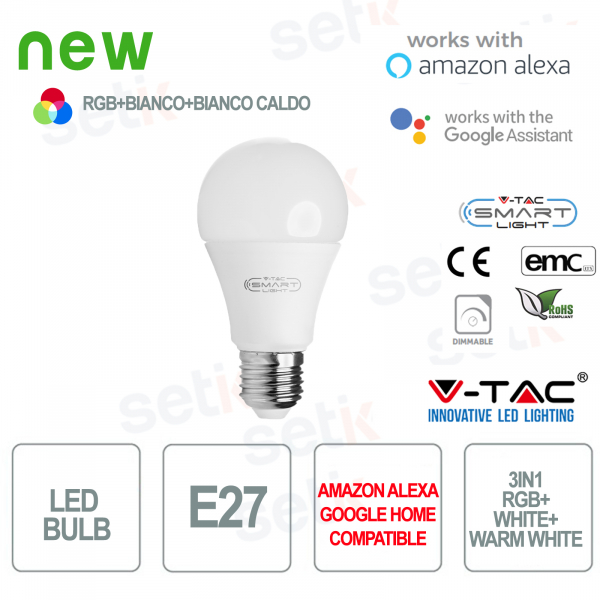 Lampadina LED Smart Home 3in1 RGB+2700K+6400K E27 A60 Alexa Google Home