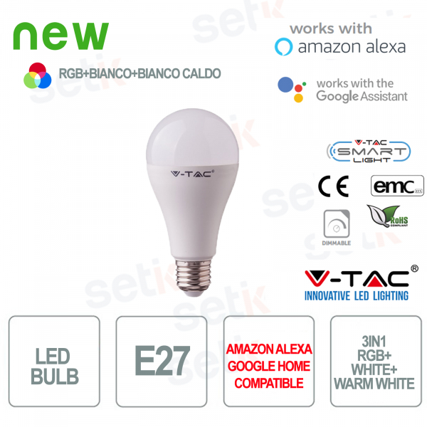 Lampadina LED Smart Home 3in1 RGB+2700K+6400K E27 A60 15wAlexa Google Home