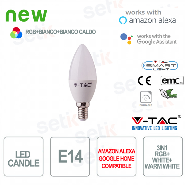 Smart Home LED candle 3in1 RGB + 2700K + 6400K E14 4.5w Alexa Google
