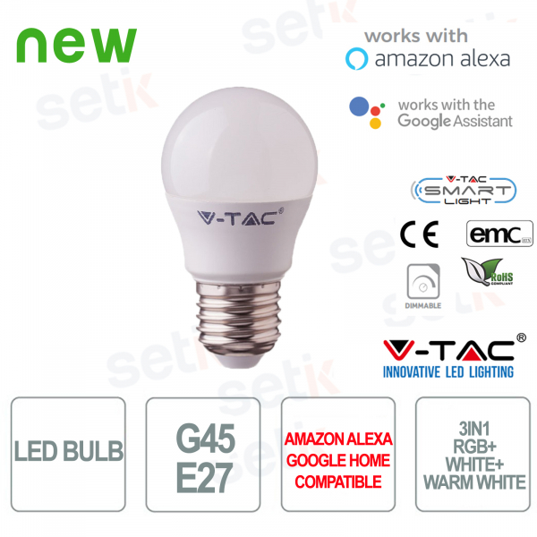 Lampadina LED G45 Smart Home 3in1 RGB+2700K+6400K E27 4.5w Alexa Google Home