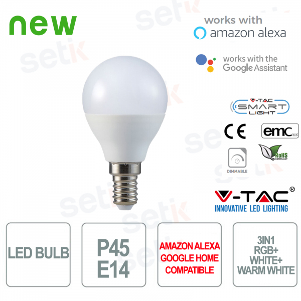 Lampadina LED P45 Smart Home 3in1 RGB+2700K+6400K E14 4.5w Alexa Google Home