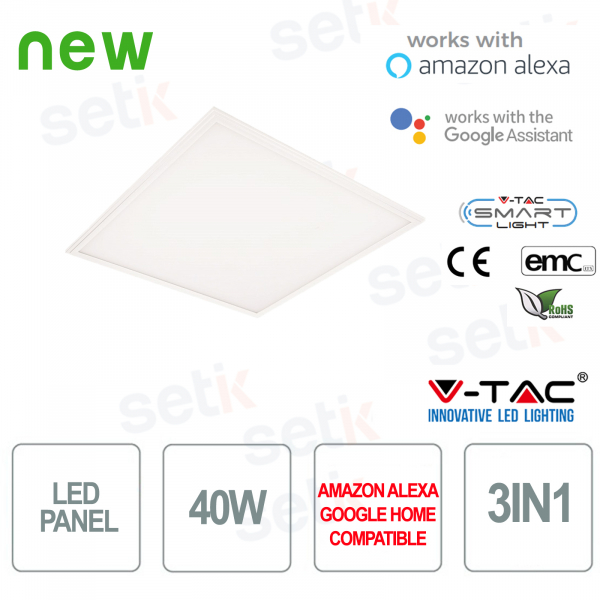 Pannello LED 600x600 Smart Home 3in1 40W Alexa Google Home