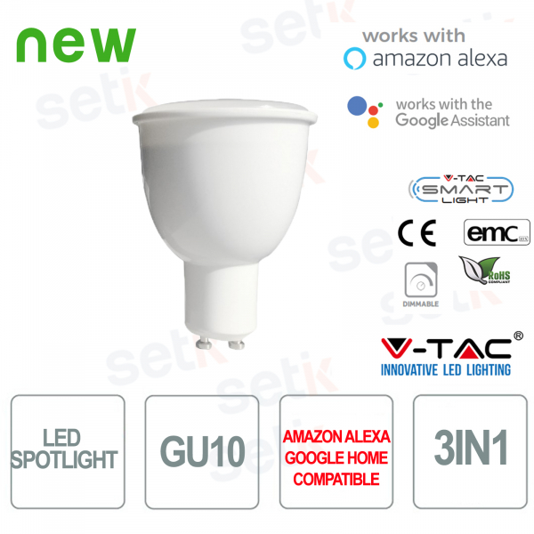 Faretto LED Smart Home 3in1 GU10 4.5W Alexa Google Home
