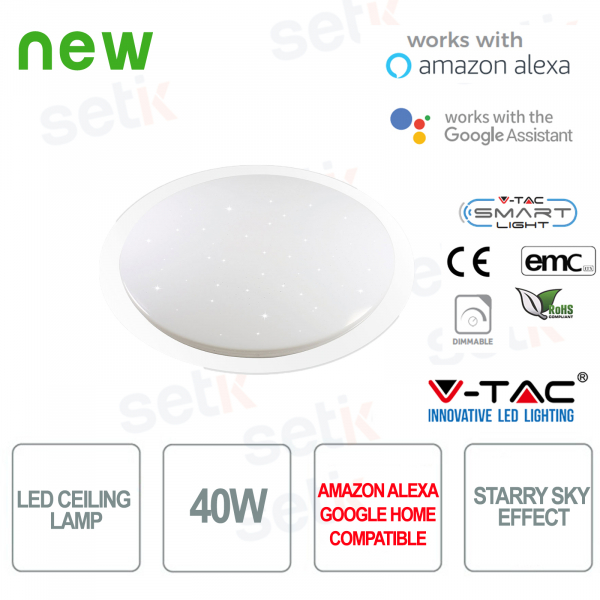 Smart Home 3in1 40W LED Ceiling Light Starry Sky Effect Alexa Google