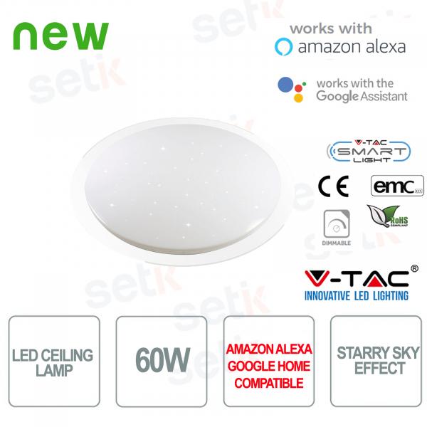 Plafoniera LED Smart  Home 3in1 60W Effetto Cielo Stellato Alexa Google Home
