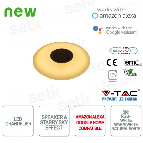 Lampadario LED Smart Home 3in1 35W Effetto Cielo Stellato e Speaker - Alexa e Google Home