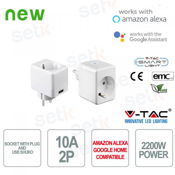 WIFI Presa elettrica con attacco Shuko e entrata USB Smart Home Alexa Google Home V-TAC