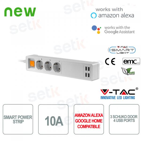WIFI Ciabatta Smart Home 3 Prese schuko 4 Prese USB Alexa Google Home V-TAC