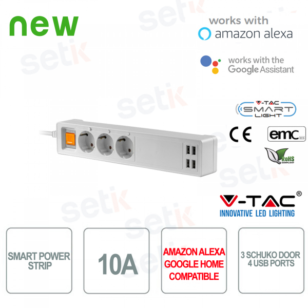 WIFI Smart Home power strip 3 Schuko sockets 4 Alexa USB sockets Google Home V