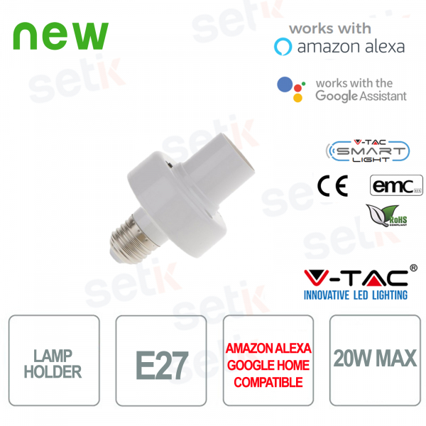 Portalampada Smart Home E27 20W Alexa Google Home V-TAC
