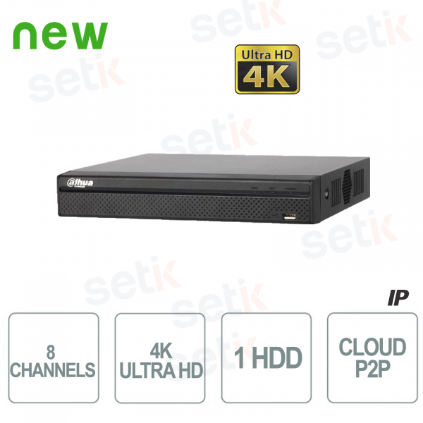 NVR IP 8 Canali H.265 4K Ultra HD - Fino a 8 MP - Dahua