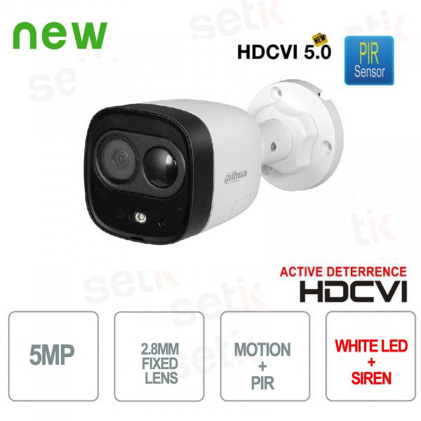 Telecamera HD CVI 5MP 2.8mm PIR Active Deterrence Luce Bianca e Sirena Dahua