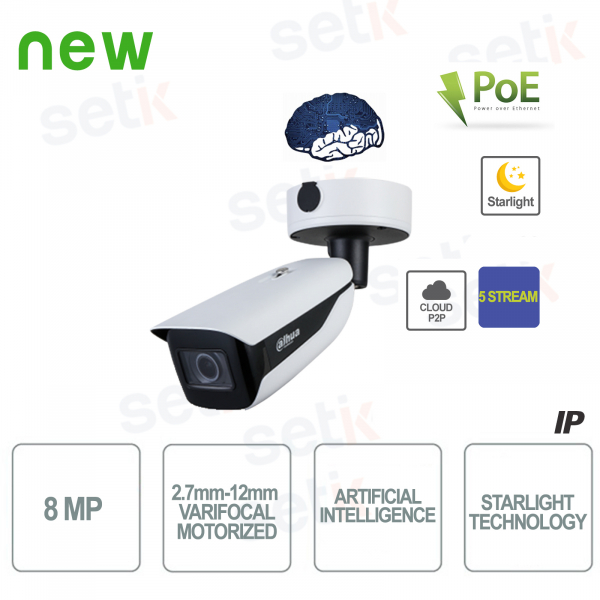 Telecamera Bullet IP Onvif PoE AI 8MP Motorizzata Starlight 5 Stream Dahua