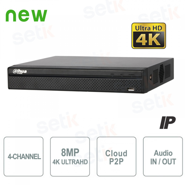 4-Channel 4K H.265 IP NVR up to 8MP 1HDD Audio - Dahua Lite Series