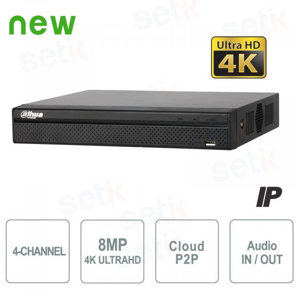 NVR IP a 4 Canali 4K H.265 fino a 8MP 1HDD Audio - Serie Lite Dahua
