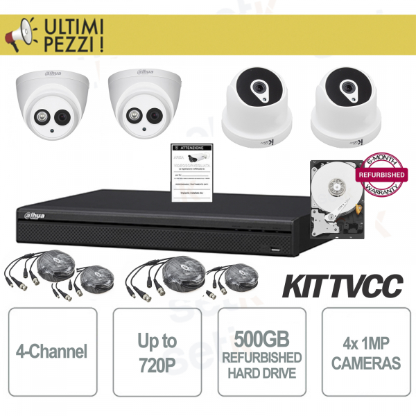 720P 4-Channel Video Surveillance Kit + 1MP + HD 500GB Cam