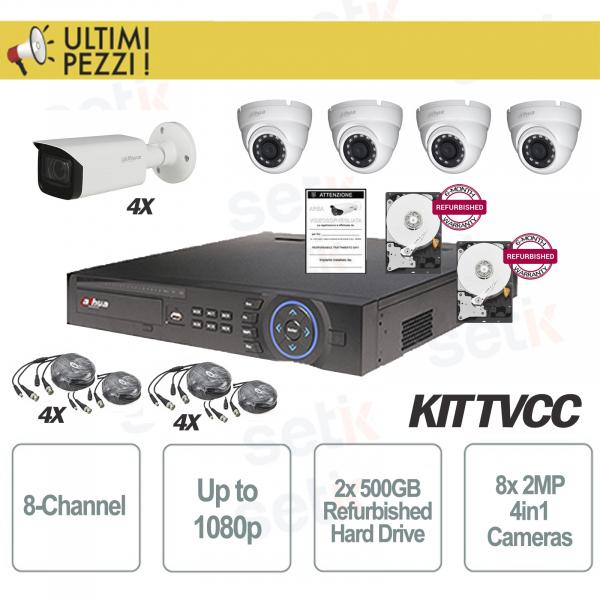 Kit Videosorveglianza 8 Canali 1080P + Telecamere 2MP 4in1 + 2 HD 500GB