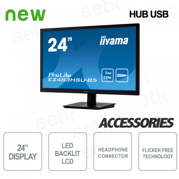 "Monitor ProLite 24"" Full HD Blue Light Flicker Free Speaker e Cuffie IIYAMA"