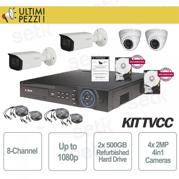 Video Surveillance Kit 8 Channels 1080P + 2MP 4in1 + 2 HD 500GB Cam
