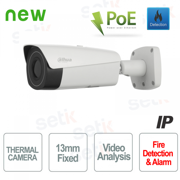 Telecamera IP PoE Dahua Camera Termica 13mm Video Analisi e Allarme Incendio