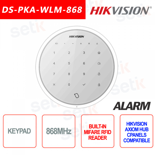 Touch Tastiera Allarme Wireless Keypad Hikvision AXIOM Hub 868MHz Lettore MIFARE