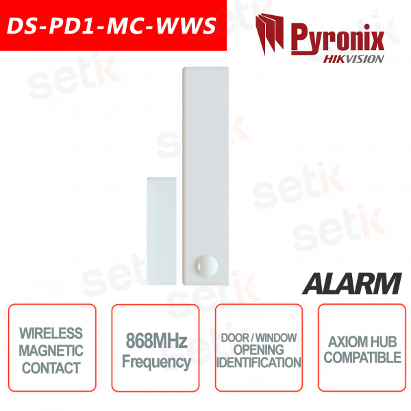 Wireless Contatto Magnetico Reed Porta Sensore Allarme Pyronix Hikvision AXIOM Hub 868MHz