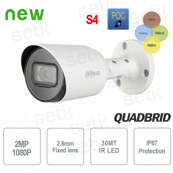 HD CVI 2MP 4in1 2.8mm IR POC outdoor camera Dahua
