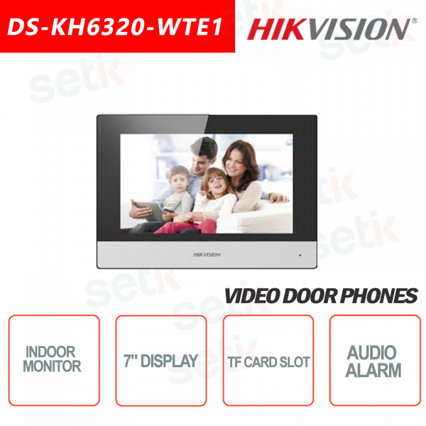 Postazione Interna Hikvision WIFI Display 7 Pollici + Slot microsd TF CARD e Snapshot - Bianca