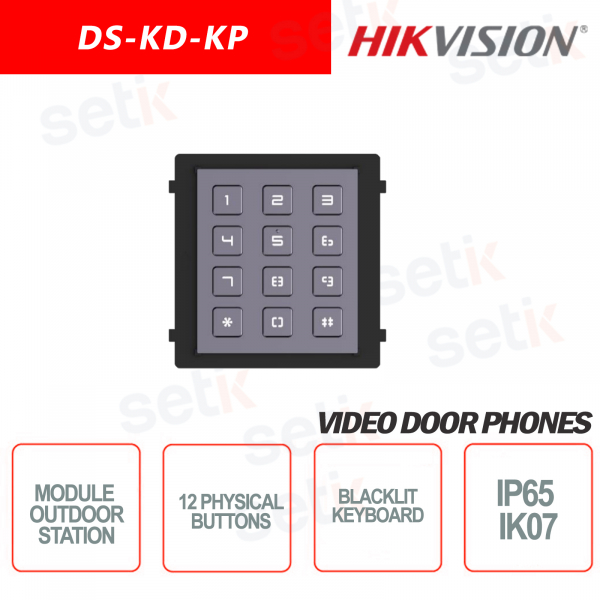 Modulo di espansione esterno Tastiera 12 tasti fisici retroilluminata IP65 IK07 - HIKVISION